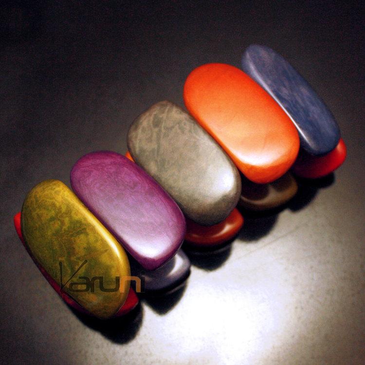 Tagua and Co Bracelet Manchette Graines Ivoire Végétale Cuervas Art  Déco Multicolore Otono Bijoux