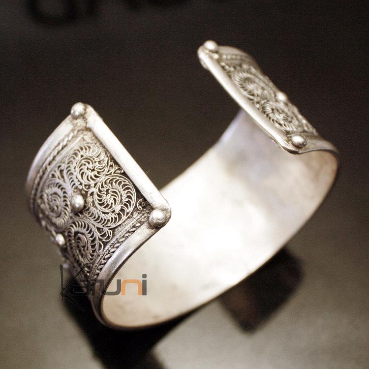 bijoux ethniques indiens bracelet manchette en argent mix nepal 06 filigranes. Black Bedroom Furniture Sets. Home Design Ideas