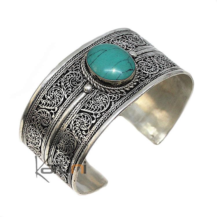 bijoux ethniques indiens bracelet en argent massif 925 nepal 31 manchette large turquoise. Black Bedroom Furniture Sets. Home Design Ideas