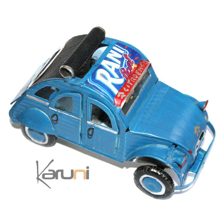 Voiture de Collection Miniature 2 CV Citroën Toit Ouvrant Canette Recyclée Métal 15 cm Madagascar Vert
