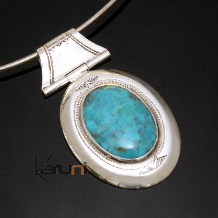 Bijoux Ethnique Argent Turquoise : Bijoux touareg ethniques africains collier pendentif en