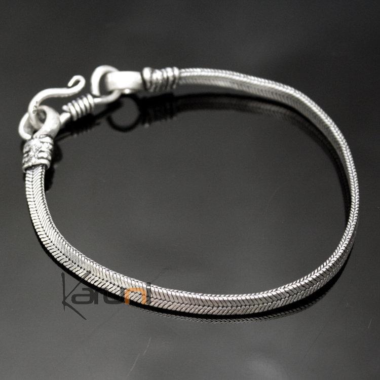 Bijoux Ethniques Indiens Bracelet Chaîne en Alliage Argent Mix DM09 Serpent Snake  Plat Nepal Newar 5 mm