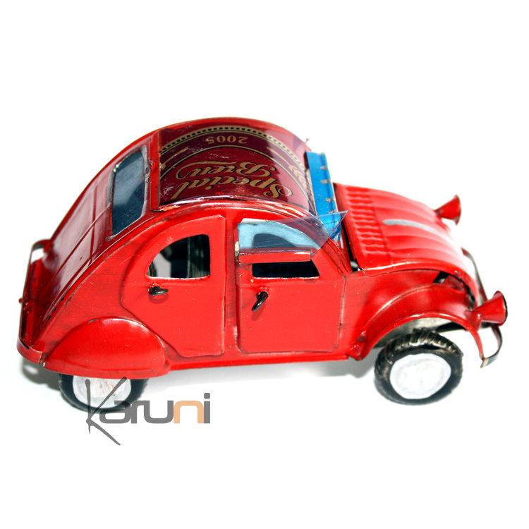 Voiture de Collection Miniature 2CV Citroën Toit Ouvrant Canette Recyclée Métal 12 cm Madagascar Vert