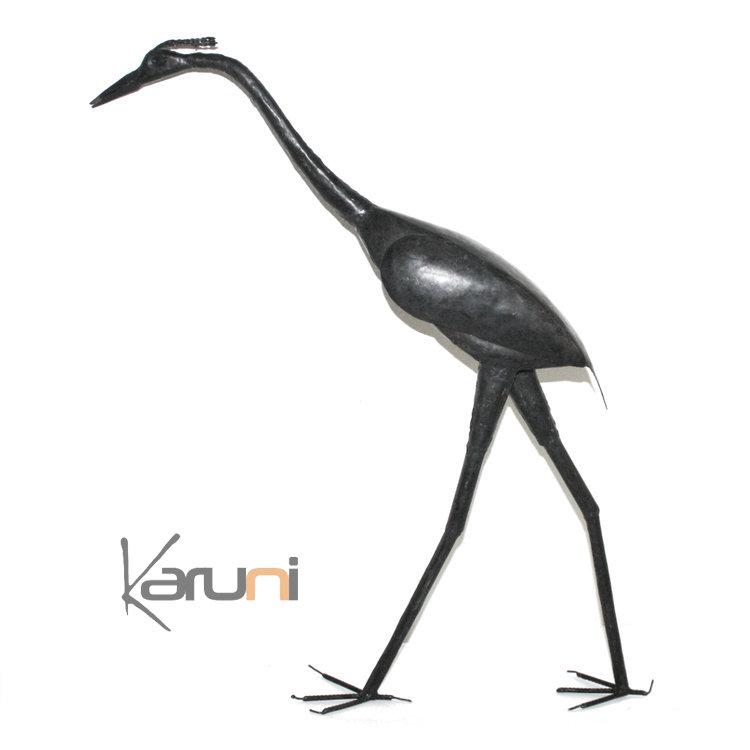 Oiseau h ron 60 cm sculpture m tal recycl de madagascar for Decoration jardin oiseau metal