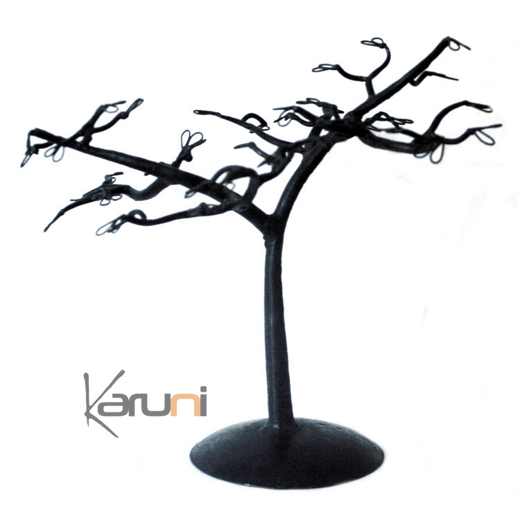 arbre bijoux porte bijoux design fleuri 30 cm m tal recycl madagascar. Black Bedroom Furniture Sets. Home Design Ideas