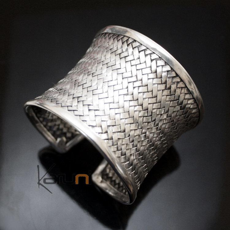 bijoux ethniques bracelet manchette argent mix tresse natte tress e r glable miao 6 cm. Black Bedroom Furniture Sets. Home Design Ideas