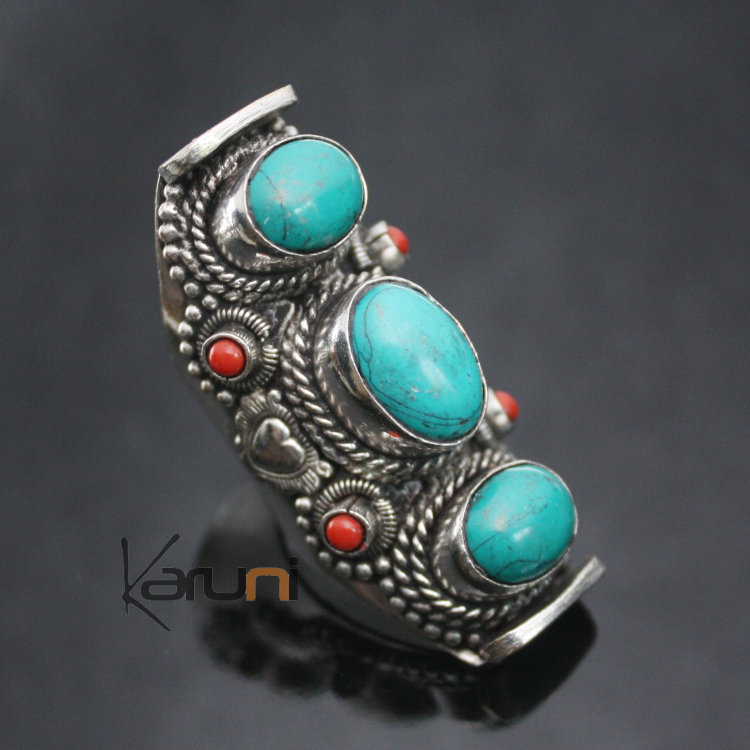 Bague turquoise corail