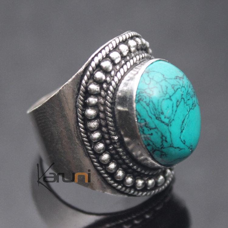 Bijoux Ethnique Argent Turquoise : Bijoux ethniques indiens n?pal bague turquoise n?palais