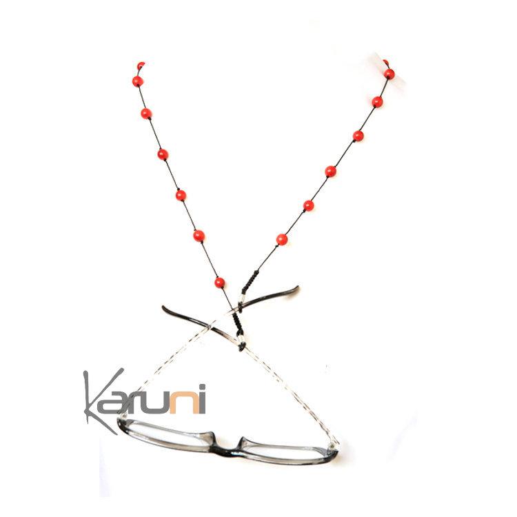 Tagua and Co Collier Chaîne pour Lunettes Porte Lunettes Perles Rondes Graines Ivoire Végétale Perlita Rouge Bijoux Design Créateur rouge