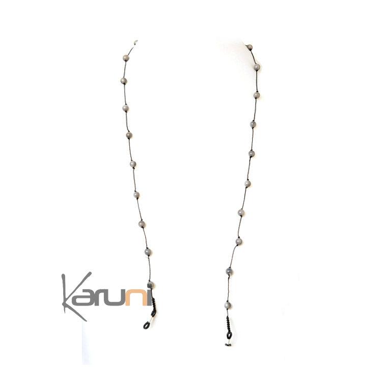 Tagua and Co Collier Chaîne pour Lunettes Porte Lunettes Perles Rondes Graines Ivoire Végétale Perlita Gris Bijoux Design Créateur Gris
