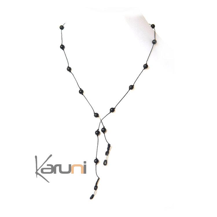 Tagua and Co Collier Chaîne pour Lunettes Porte Lunettes Perles Rondes Graines Ivoire Végétale Perlita Noir Bijoux Design Créateur Noir