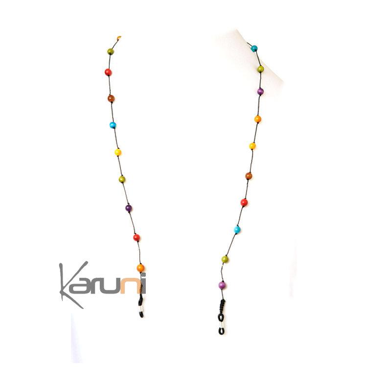 Tagua and Co Collier Chaîne pour Lunettes Porte Lunettes Perles Rondes Graines Ivoire Végétale Perlita Multicolore Bijoux Design Créateur Multicolore