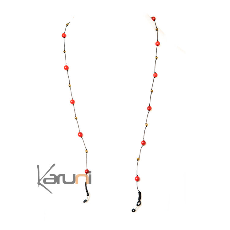 Tagua and Co Collier Chaîne pour Lunettes Porte Lunettes Perles Rondes Graines Ivoire Végétale Saila Rouge Bijoux Design Créateur Rouge