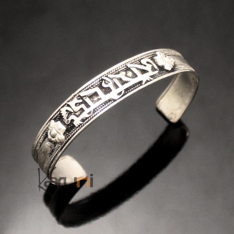 bijoux ethniques indiens bracelet jonc en argent mix homme femme nepal 07 plat filigranes tibet. Black Bedroom Furniture Sets. Home Design Ideas