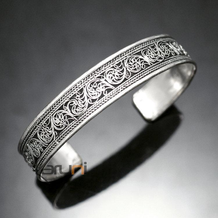 bijoux ethniques indiens bracelet jonc en argent mix homme femme nepal 04 plat filigranes 1 5 cm. Black Bedroom Furniture Sets. Home Design Ideas
