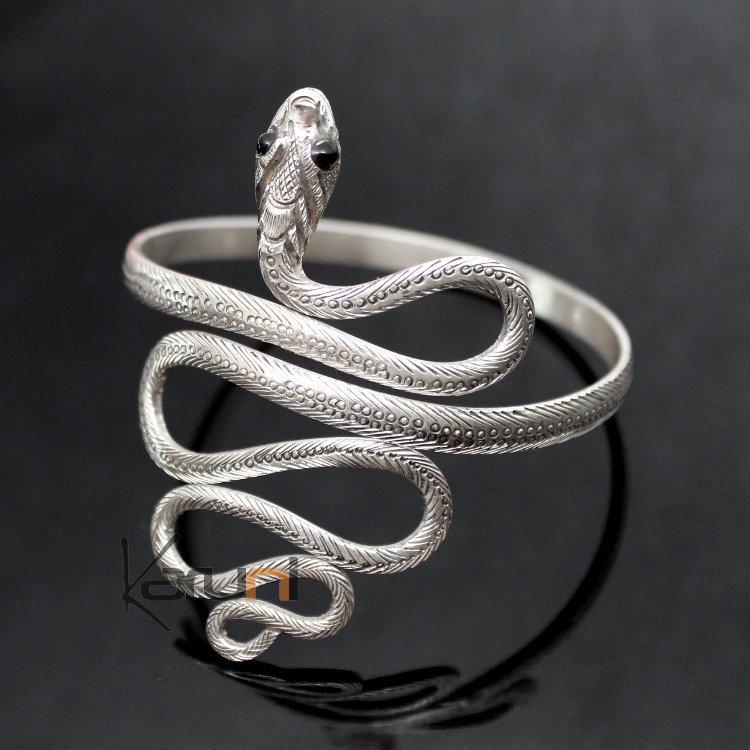 bijoux ethniques indiens bracelet en argent massif 925 nepal 15 serpent yeux onyx 6 5 cm. Black Bedroom Furniture Sets. Home Design Ideas