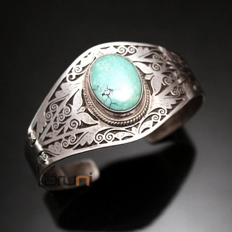 bijoux ethniques indiens bracelet en argent massif 925 nepal 16 manchette turquoise filigranes. Black Bedroom Furniture Sets. Home Design Ideas
