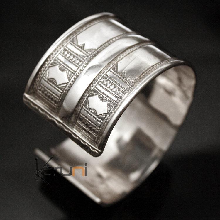 Bijoux Touareg Ethniques Bracelet Manchette en argent Large Gravé