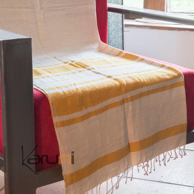 plaid jet de canap en coton tiss d 39 ethiopie nile blanc ray jaune dana esteline. Black Bedroom Furniture Sets. Home Design Ideas