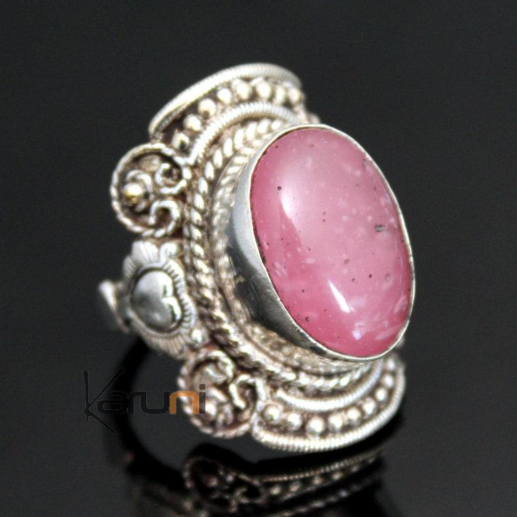 Bijoux Argent Quartz Rose : Bijoux ethniques indiens n?pal bague quartz rose n?palais