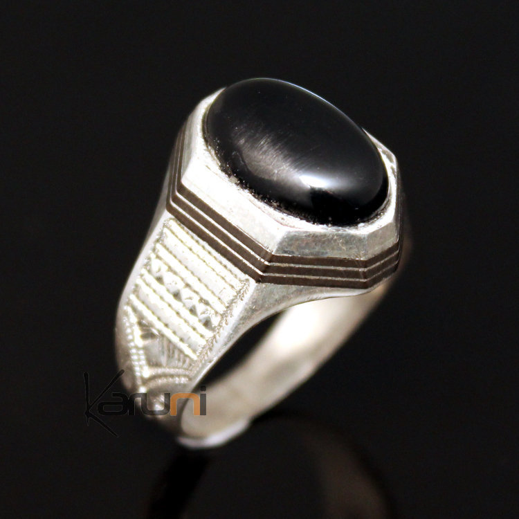 bijoux touareg ethniques bague en argent et onyx noir 19 chevali re homme femme. Black Bedroom Furniture Sets. Home Design Ideas