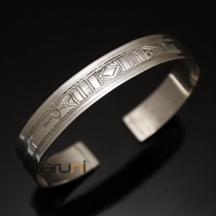 bijoux touareg ethniques bracelet en argent large plat ruban grav homme femme 01. Black Bedroom Furniture Sets. Home Design Ideas