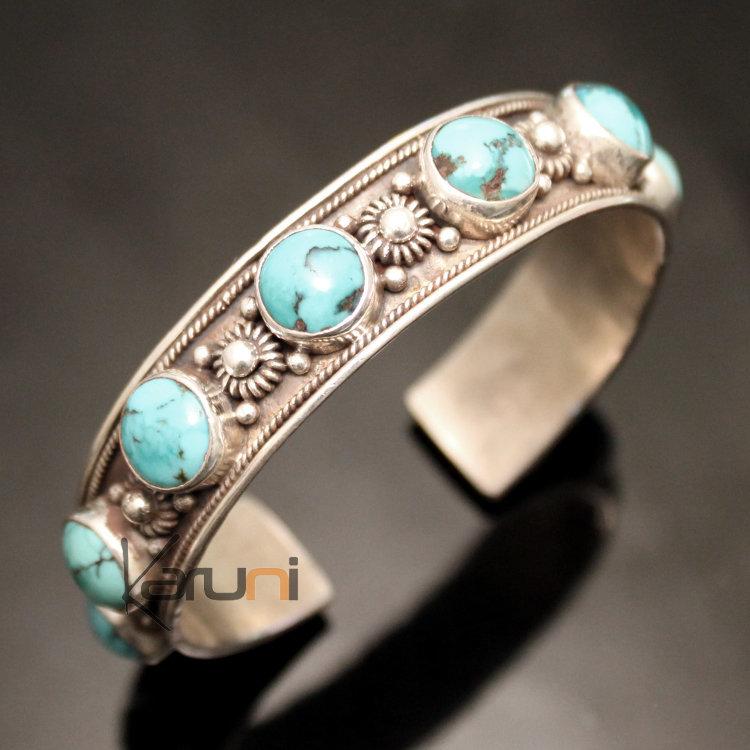 Bijoux Ethnique Argent Turquoise : Bijoux ethniques indiens bracelet en argent massif