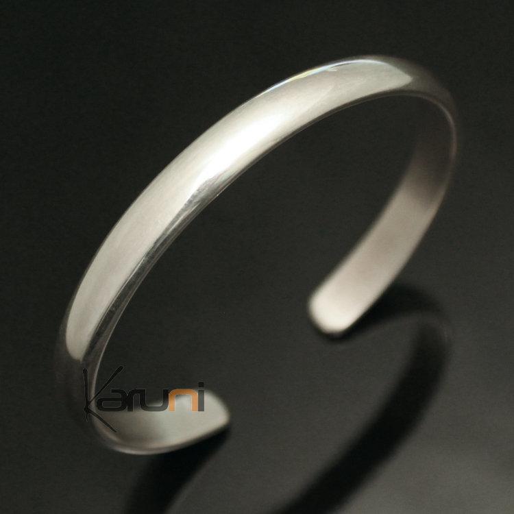 Bijoux Ethniques Indiens Bracelet en Argent Massif 925 Inde 71 Jonc Lisse  Demi,Rond Homme/Femme