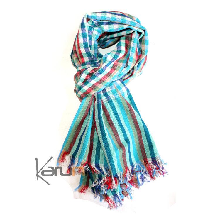 1113a9c46cf Krama Cheche Foulard Echarpe Coton Homme Femme Cambodge Arun Sarany Shop  Carreaux Bleu turquoise Vert 160x70 cm