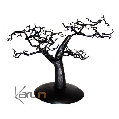arbre bijoux porte bijoux design c dre 25 30 cm m tal recycl baobab madagascar. Black Bedroom Furniture Sets. Home Design Ideas