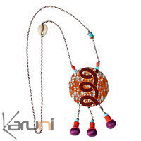 TOUBAB PARIS - Collier sautoir miroir  tissu wax orange/violet