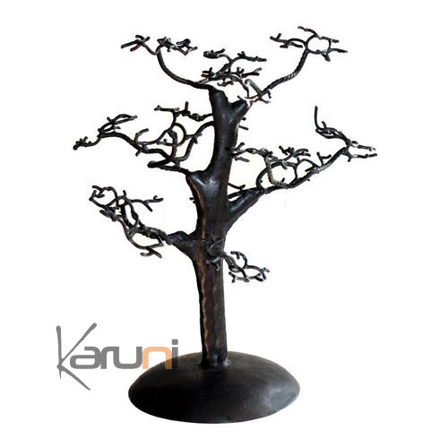 arbre bijoux porte bijoux design c dre droit 40 cm m tal recycl baobab madagascar. Black Bedroom Furniture Sets. Home Design Ideas