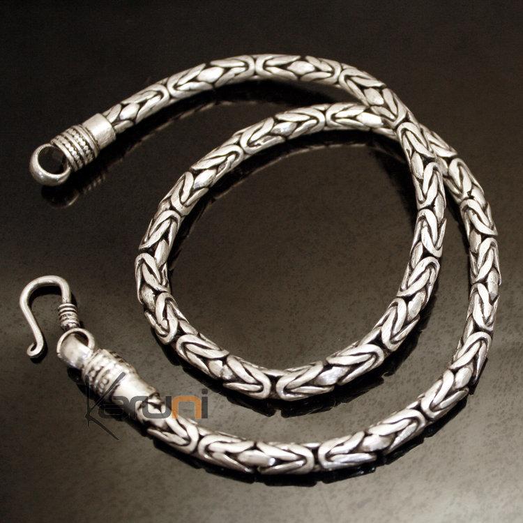 Bijoux Ethniques Indiens Collier Chaîne en Argent Mix Serpent rond Népal 02