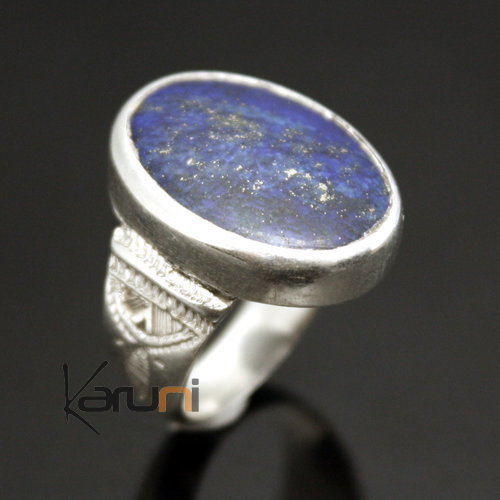bijoux touareg ethniques africains bague en argent lapis lazuli 03 homme femme ovale. Black Bedroom Furniture Sets. Home Design Ideas