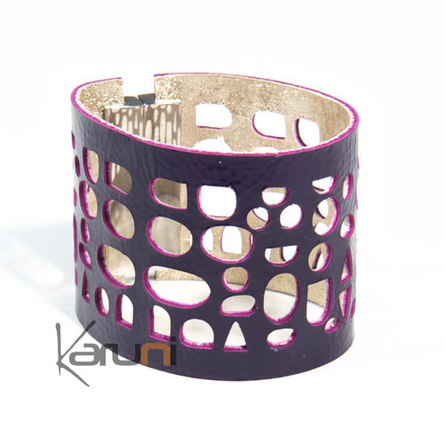 bracelet manchette en cuir bijoux fantaisie mode dentelle r versible galets violet dor or dana. Black Bedroom Furniture Sets. Home Design Ideas