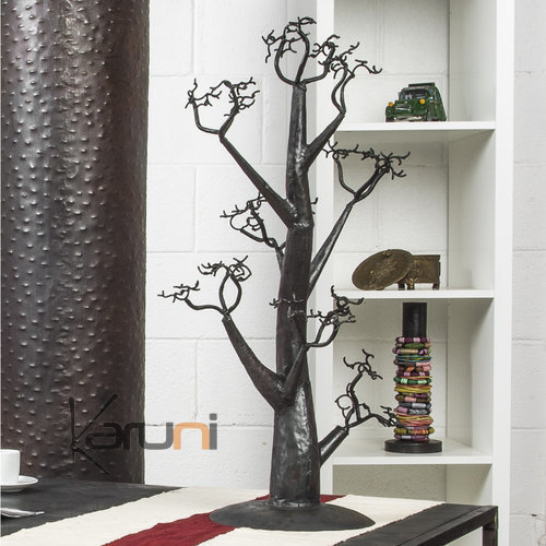 arbre bijoux porte bijoux design arbre droit 70 cm m tal recycl baobab madagascar. Black Bedroom Furniture Sets. Home Design Ideas