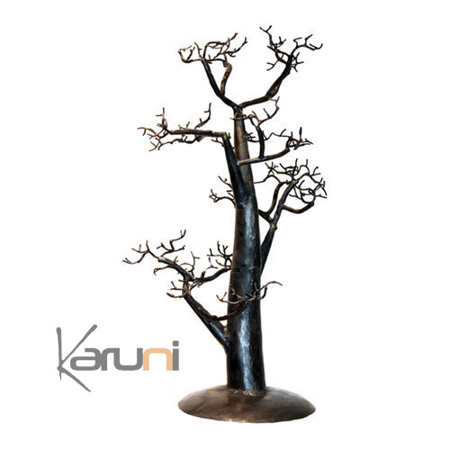 arbre bijoux porte bijoux design arbre droit 50 cm m tal recycl baobab madagascar. Black Bedroom Furniture Sets. Home Design Ideas