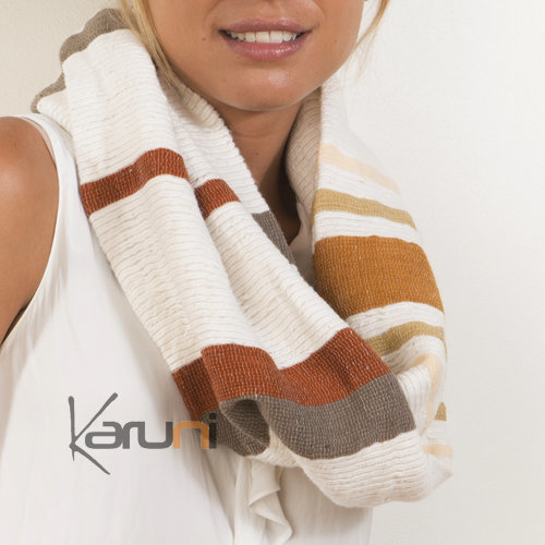 echarpe tube foulard snood loop femme en coton tiss d 39 ethiopie hiburt blanche brun beige dana. Black Bedroom Furniture Sets. Home Design Ideas