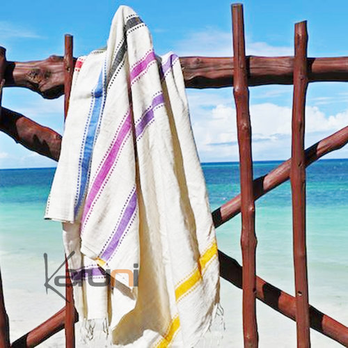 fouta serviette de plage drap de bain en coton tiss main ethiopie rainbow blanche bandes. Black Bedroom Furniture Sets. Home Design Ideas