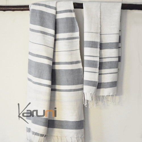 fouta serviette de plage drap de bain en coton tiss main ethiopie blanc ivoire gris bandes nile. Black Bedroom Furniture Sets. Home Design Ideas