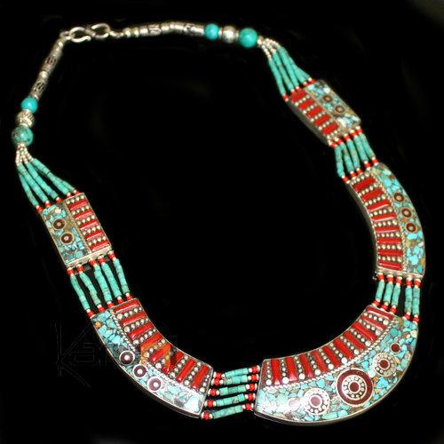 bijoux ethniques indiens artisanaux collier n pal turquoise racine de corail 02 perles n palais. Black Bedroom Furniture Sets. Home Design Ideas