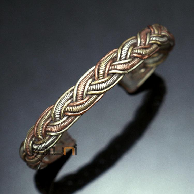 bijoux ethniques indiens bracelet jonc en cuivre laiton argent mix homme femme nepal 06 large tress. Black Bedroom Furniture Sets. Home Design Ideas