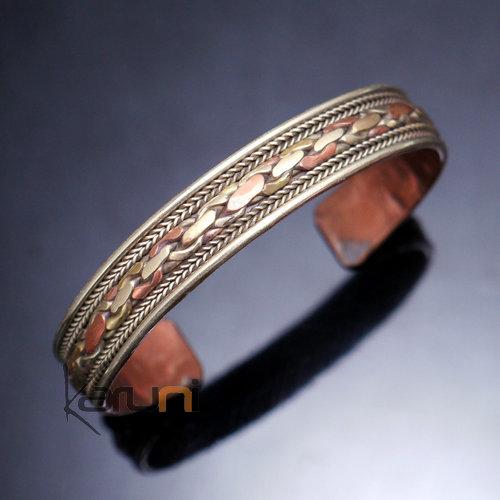 bijoux ethniques indiens bracelet jonc en cuivre laiton argent mix homme femme nepal 07 tress large. Black Bedroom Furniture Sets. Home Design Ideas