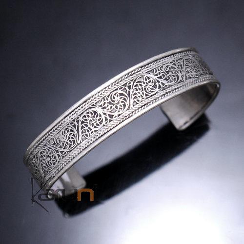 bijoux ethniques indiens bracelet jonc en argent mix homme femme nepal 16 plat filigranes 1 8 cm. Black Bedroom Furniture Sets. Home Design Ideas