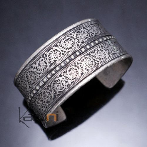bijoux ethniques indiens bracelet manchette en argent mix nepal 04 filigranes. Black Bedroom Furniture Sets. Home Design Ideas