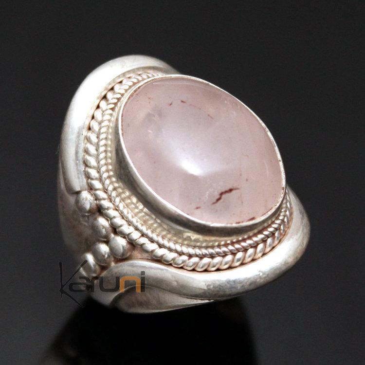 Bijoux Argent Quartz Rose : Bijoux ethniques indiens bague chevali?re en argent pierre