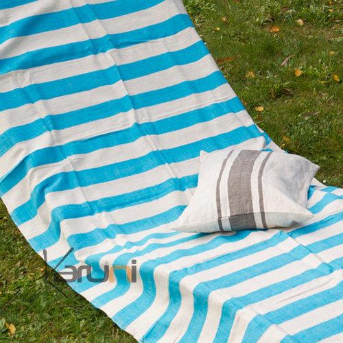 fouta serviette de plage drap de bain en coton tiss main ethiopie blanc ivoire rayures bleu. Black Bedroom Furniture Sets. Home Design Ideas