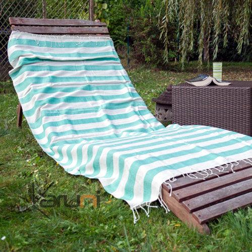 fouta serviette de plage drap de bain en coton tiss main ethiopie blanc ivoire rayures vert d. Black Bedroom Furniture Sets. Home Design Ideas