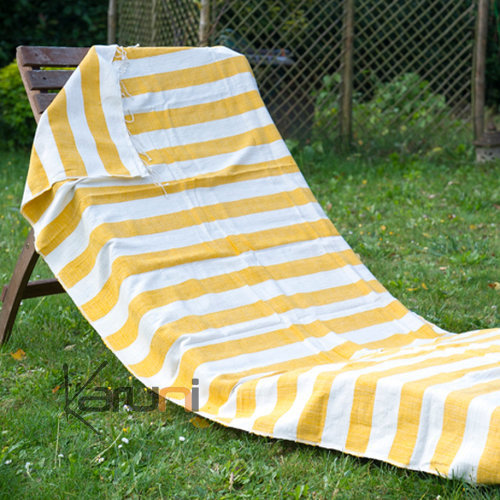 fouta serviette de plage drap de bain en coton tiss main ethiopie blanc ivoire rayures jaune. Black Bedroom Furniture Sets. Home Design Ideas