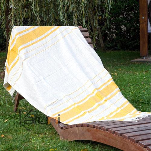 fouta serviette de plage drap de bain en coton tiss main ethiopie blanc ivoire jaune bandes. Black Bedroom Furniture Sets. Home Design Ideas